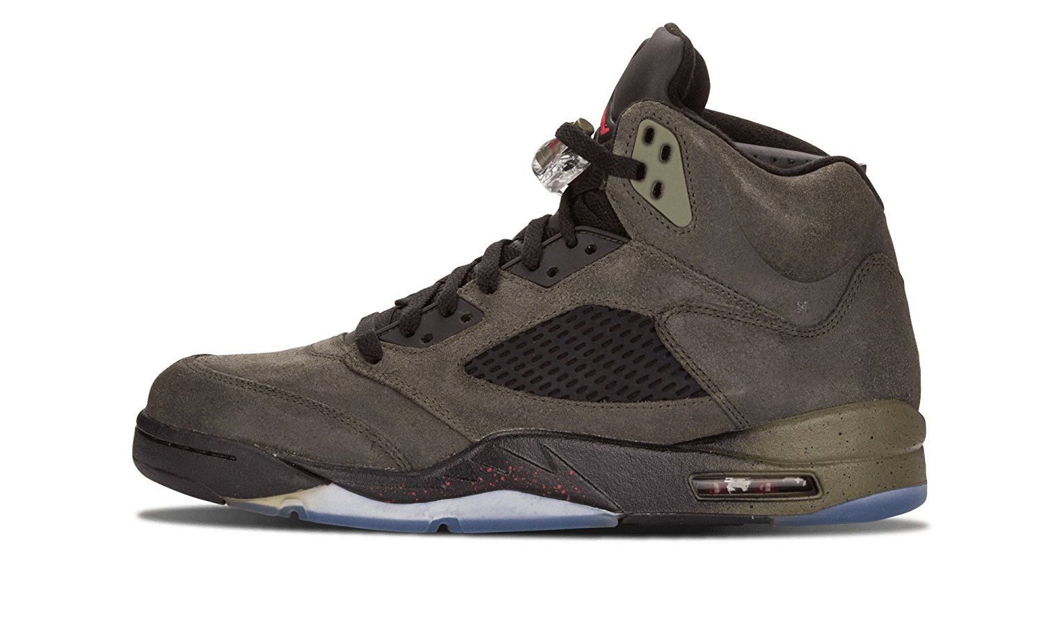 """Nike Mens Air Jordan 5 Retro """"Fear"""" Sequoia/Fire Red Leather basketball-shoes Size 14"""