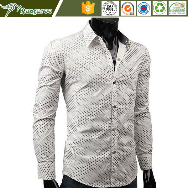 Man's Satin Formal Dress White with Black Dots latest new model shirts