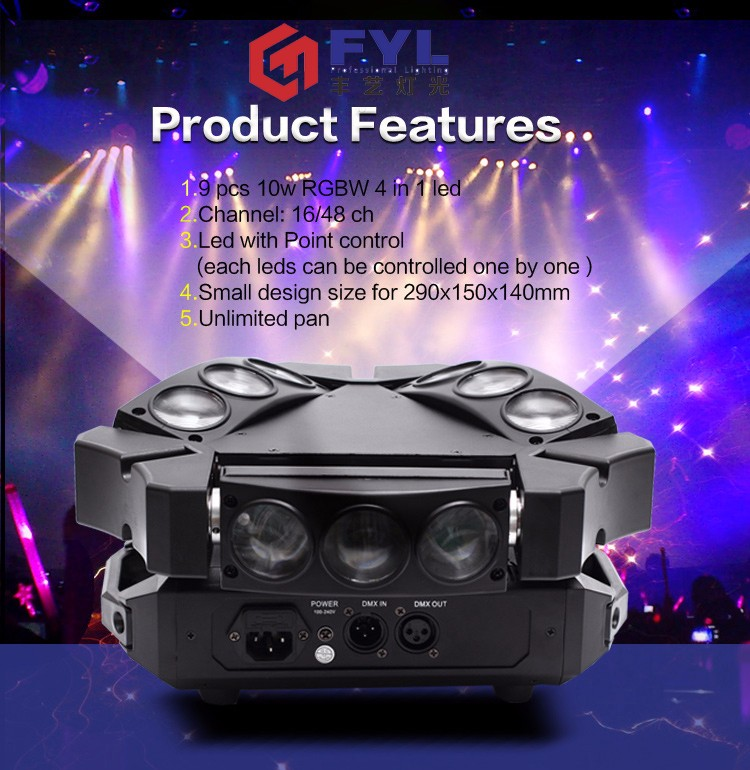 B059 Mini 9x10w rgbw 3 heads 4in1led moving head spider beam light