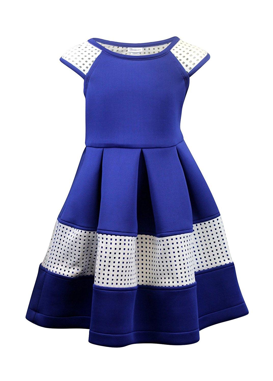 7d1948de7b9 Get Quotations · Bonnie Jean Big Girls 7-16 Short Sleeve Techno Pleats Scuba  Dress - Tween dresses