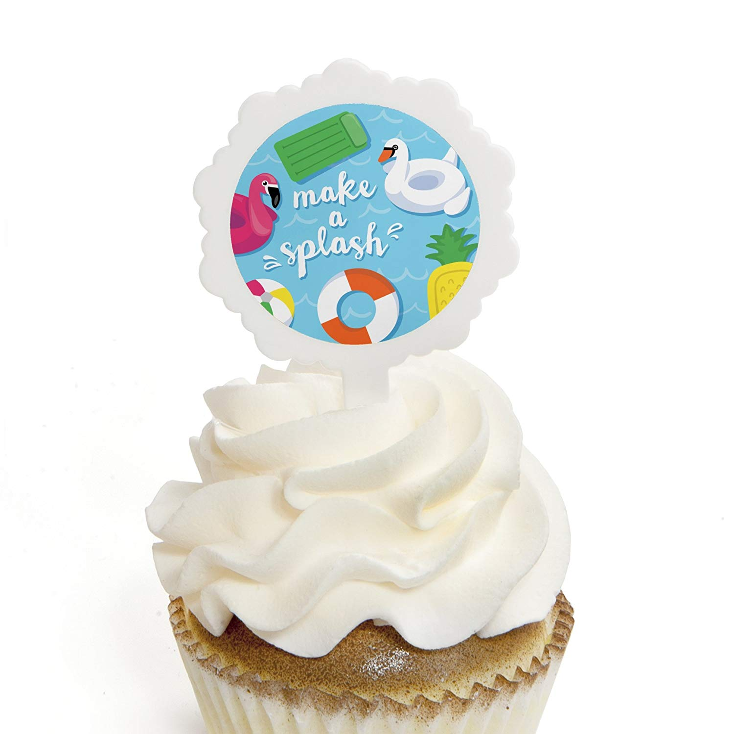 Make A Splash - Pool Party - Cupcake Picks with Stickers - Summer Swimming Party or Birthday Party Cupcake Toppers - 12 Count