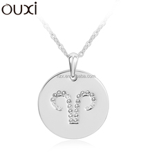 OUXI fashion friendship constellation series crystal Aries round hang tag jewelry/alloy rhodium plated necklace 10755