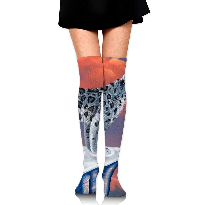 Zaqxsw Crazy Snow Leopard Animal Womens Socks Thigh High Knee High Socks Running Socks
