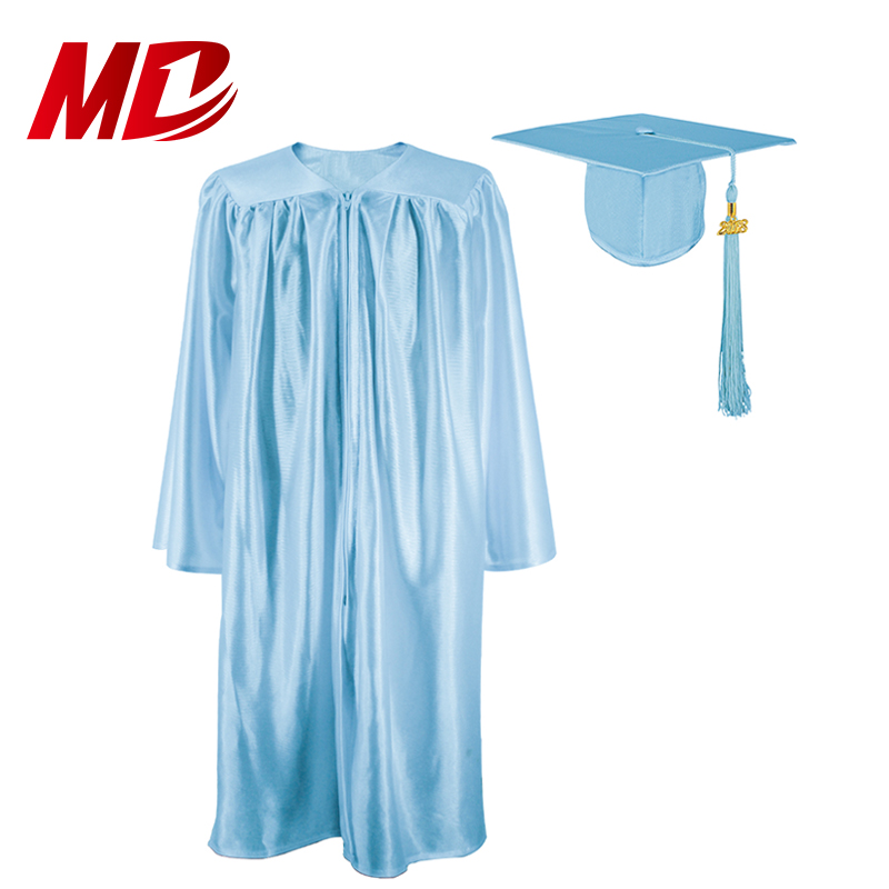 Cheap Sky Blue Shiny Graduation Robe Graduation Gown And cap