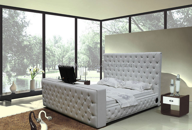 2017 Alibaba Hot Tufted Design Half Leather Tv Beds G922