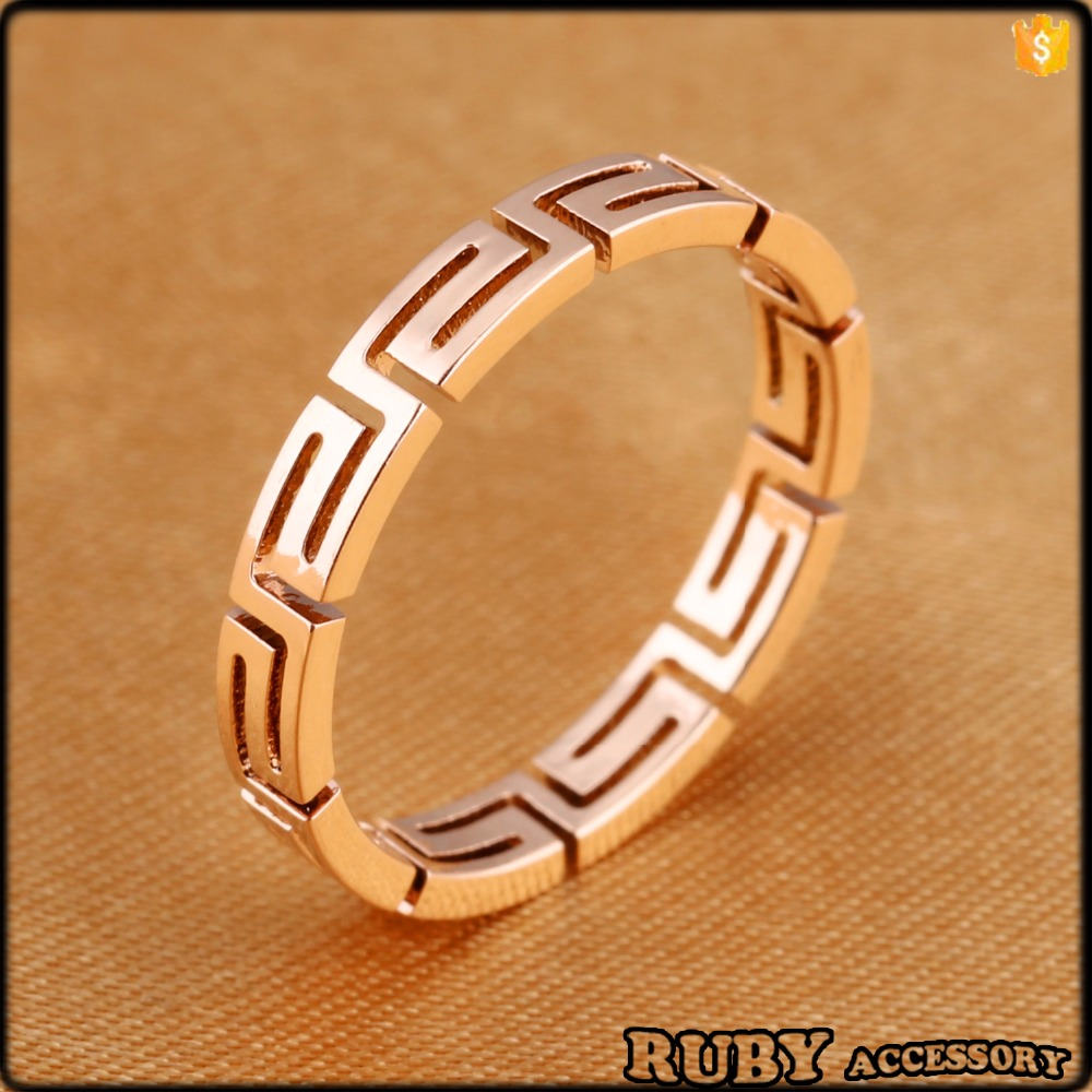latest fashion jewellery Hollow out Great Wall lines girl ring designs stainless steel rose gold plating rings