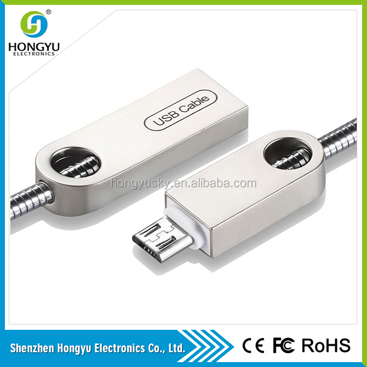 Hot china products wholesale High durability Metallic touch charging micro usb data cable