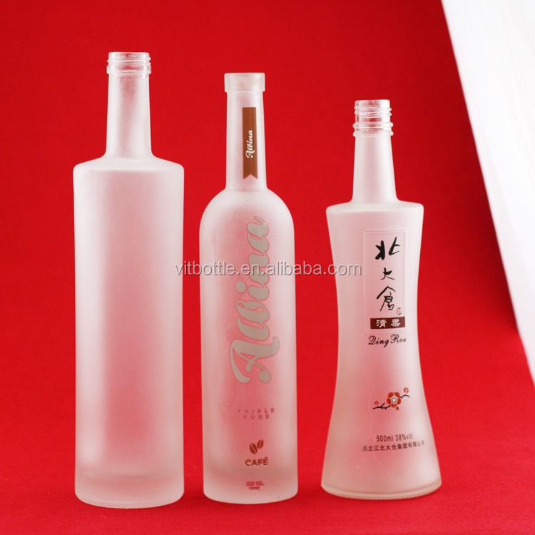 New design aluminum cap bottles clear spirits bottle 500 ml glass bottle