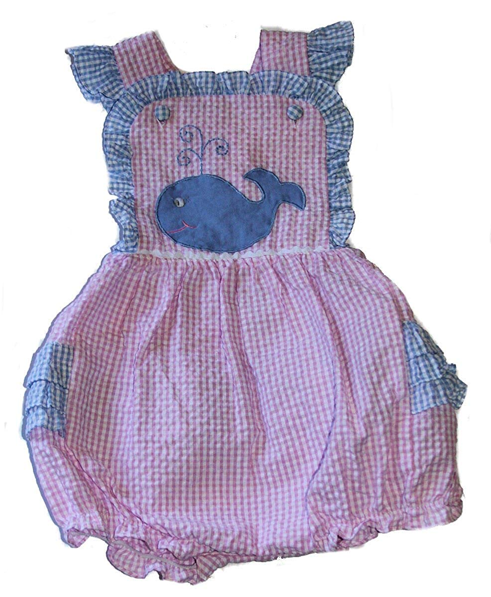 2a67e8582994 zuzu zu Baby-Girls Pink Blue Seersucker Ruffled Sunsuit