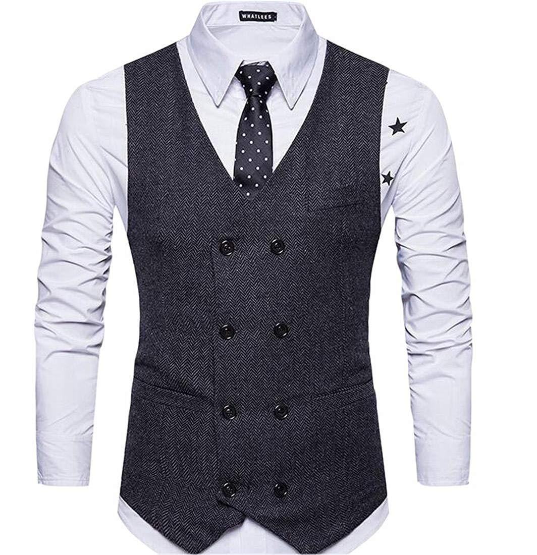Alion Mens V-Neck Sleeveless Double-Breasted Suit Vest Waistcoat