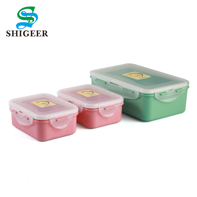 Cheap OEM Customized 1250ml 380ml 380ml Plastic Wheat Straw Food Lunch Box