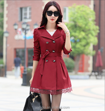 Elegant Winter Stylish Ladies Belted Khaki Women Trench Coat Plus Size