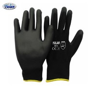 BLACK NEW PU COATED WORK BUILDERS MECHANIC CONSTRUCTION GRIP GLOVES