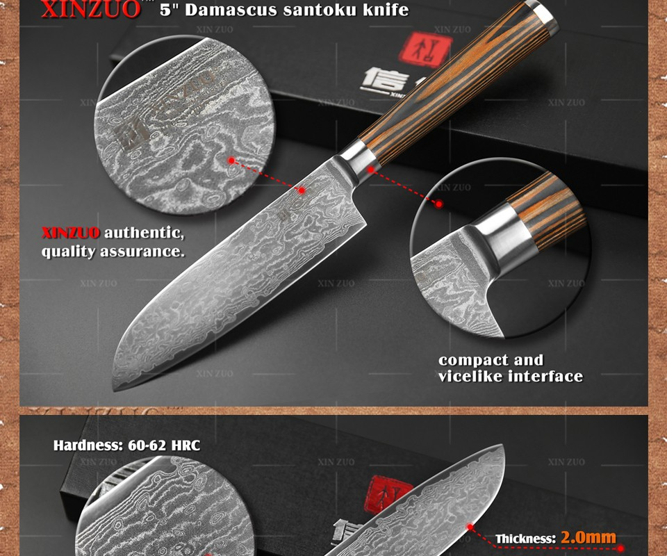 Xinzuo 5 Quot Japanese Chef Knife 73 Layers Vg10 Damascus Steel