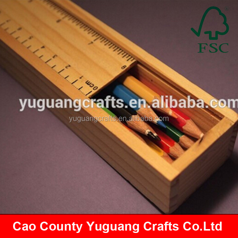 Customized High Quality Wooden Pencil Box, Wooden Pencil Case