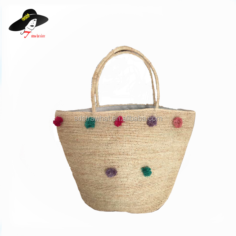 Natural Straw Bag Pom Poms Beach Product On Alibaba