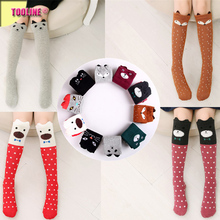 2017 Tooline Fashion Hot Sale Rain And Lightning Cartoon animals Kids Socks Wholesale Knee High Socks kids over the calf socks