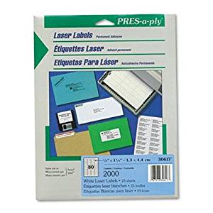"""Avery - 6 Pack - Pres-A-Ply Laser Address Labels 1/2 X 1-3/4 White 2000/Pack """"Product Category: Labels Indexes & Stamps/Labels & Stickers"""""""