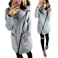 European and American autumn and winter fashionable side zipper long sleeve repair coat