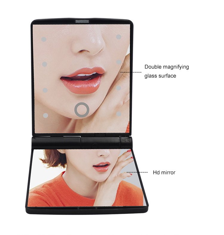 Premium luxury green color handheld light up led makeup mirror pocket+touch screen double sided 8 led vanity makeup mirror