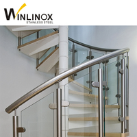 Frameless inox glass outdoor spiral staircase prices
