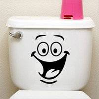 "Toilet Smiley Face Decal Wall Art Decor Funny Bathroom Sticker Vinyl Sticker Decal ( 8"" h x 6.2"" w)"