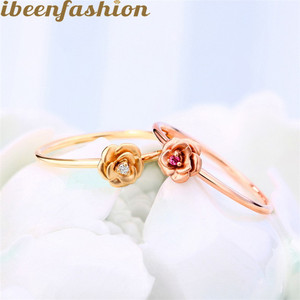 New Style 14K Gold Flower Ring Inlaid Red Tourmaline Fashion Ring