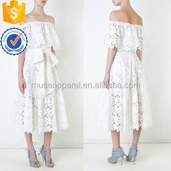 b92be48dd236 Latest Design 2018 White Short Sleeve Lace Off Shoulder Summer Midi Dress  OEM ODM Women