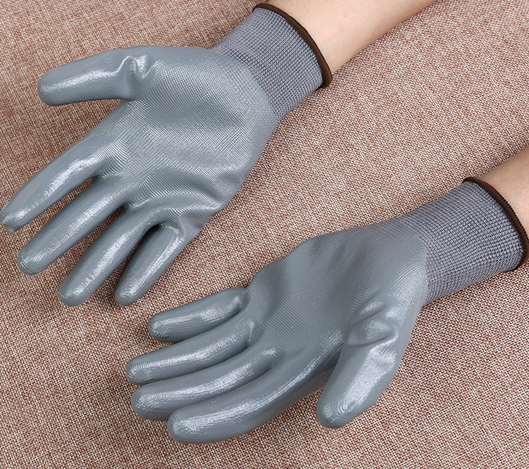 factory direct sales13 needle nylon oil proof rubber gloves, labor protection products
