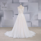 A line wedding dress Bohemian Sexy V neck sleeveless beading lace appliques boning Champagne See Through Tulle bridal gown