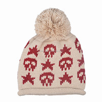 korean style ladies winter skull hat with top balls women crochet pirate hats with pompomn for wholesale