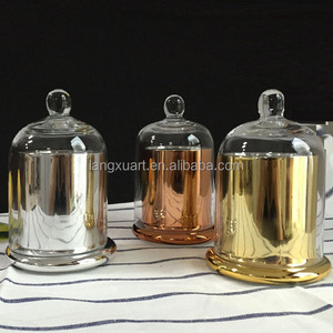 Handmade decorative candle glass bell jar with dome cover wholesale