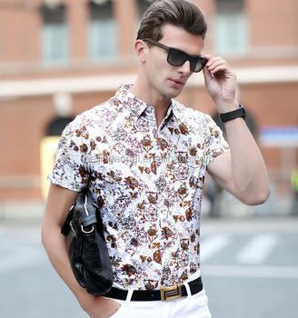 Summer lastest custom printed mens fashion half sleeve hawaiian shirts 7805f4a69482