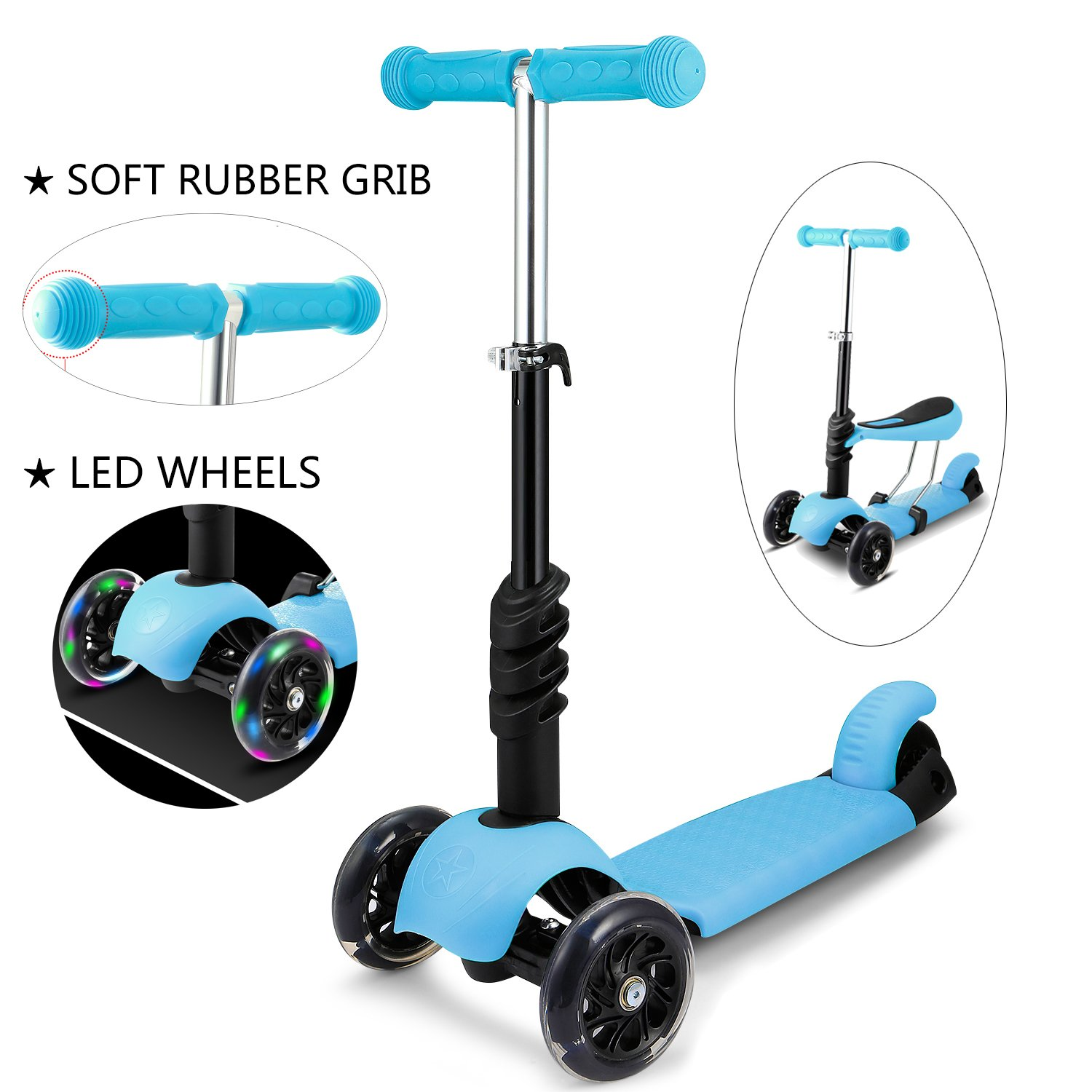 shaofu 3-in-1 Toddler Scooter, 3-Wheel Mini Kick Scooter with LED Light Up Wheels, Adjustable Handlebar and Removable Seat for Children(US STOCK)