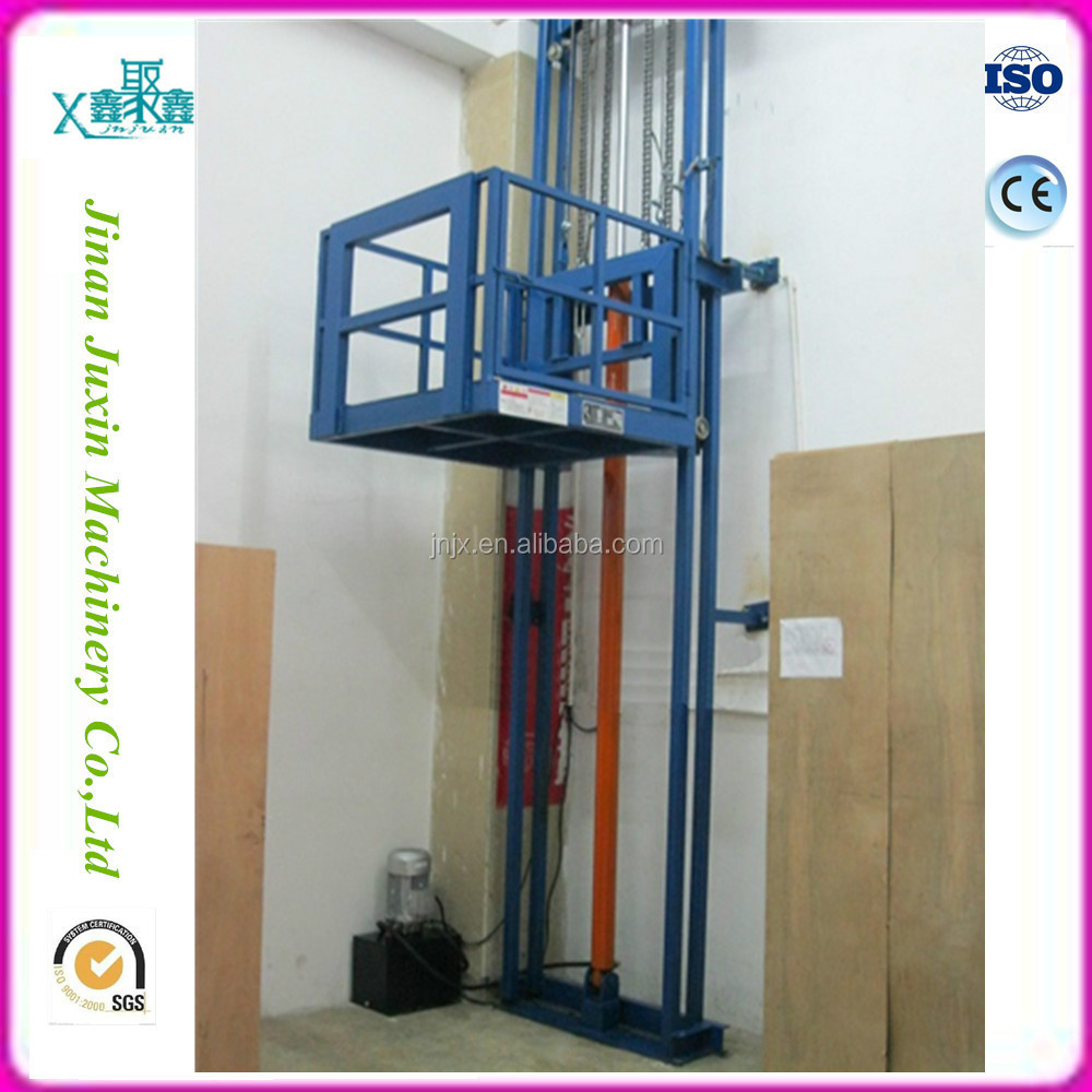 High quality hydraulic wall mounted cargo lift/guide rail lift platform