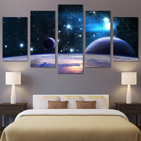 wall art 5 piece canvas panel painting print planet starry sky Bright stars wall HD print picture for living room unframed