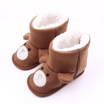 17f0385cd Детская обувь унисекс Вязание высокой помощи животных девочек сапоги зимние  детские мягкие Нескользящие малышей обувь для