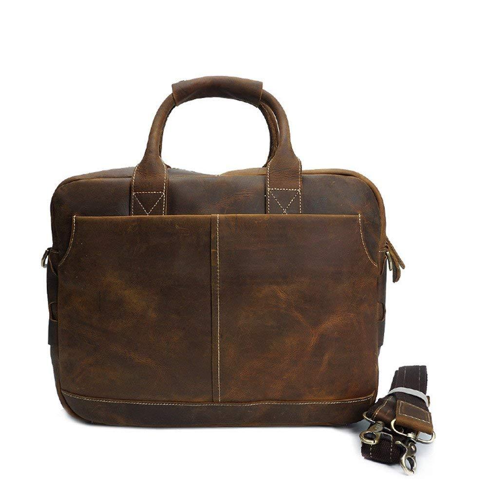 Get Quotations · Universal Mens Messenger Bag 14 Inch Waterproof Vintage  Crazy Horse Leather Briefcase Large Satchel Shoulder Bag 0b87617daa