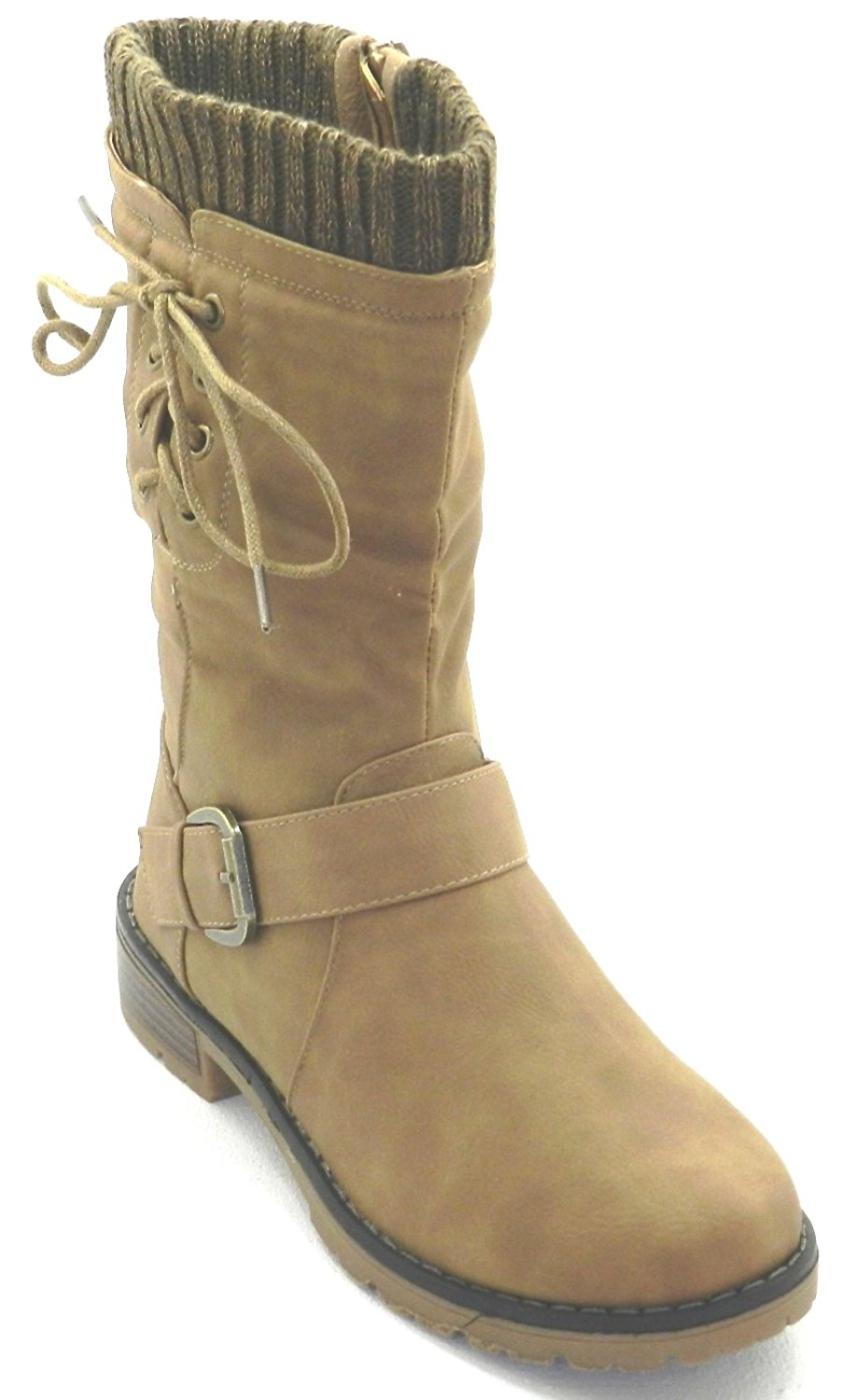 Get Quotations  C2 B7 Dev New Womens Military Combat Fashion Boots Mid Knee Low Flat Heel Boots