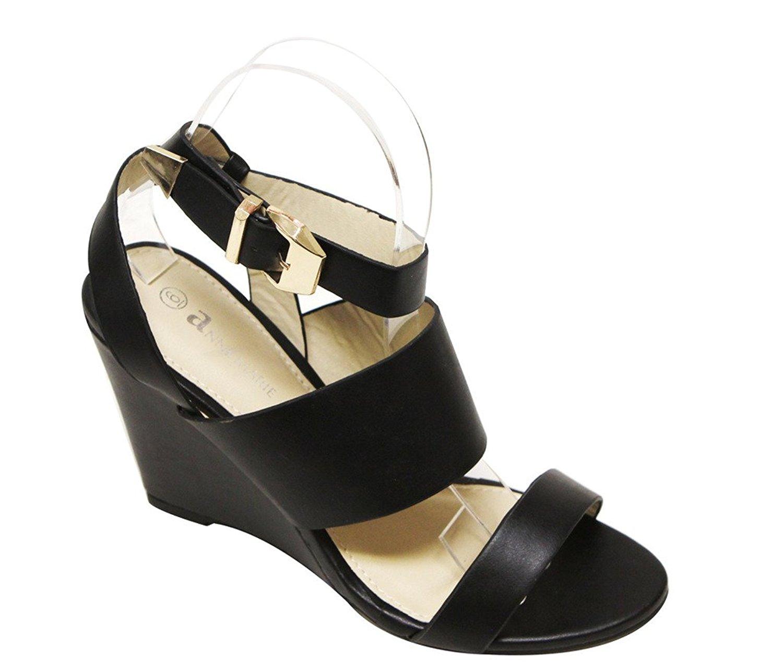 3677ec0ae21 Get Quotations · aNNE MARIE Soho-33 Women s Open Toe Slingback Ankle Strap  Wedge Heel PU Sandals Black