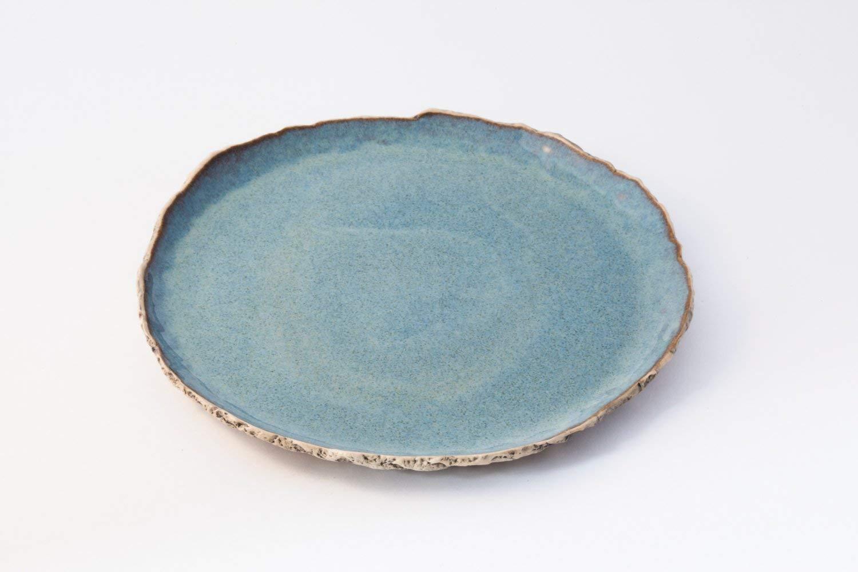 Blue breakfast plate, Ceramic plate, Handmade dinnerware plate, Stoneware plate, Rustic potter, serving plate, Wedding gift