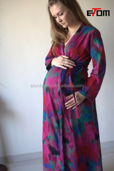 Watercolor Warm Winter Sweater Knit Ankle Length Maternity Robe