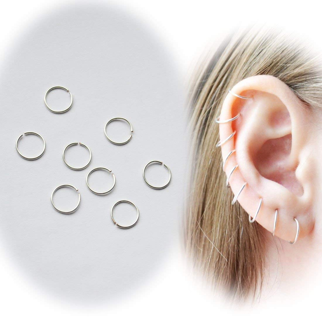 Get Quotations Set Of 40 Pieces Mini Silver Plated Hoops One Size 8 Mm 24 Gauge Sensitive Ears