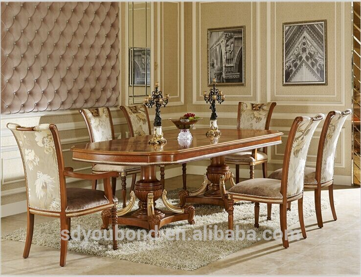 0062 Italian Classic Dining Room Sets, Luxury Golden Wood Table And Chair  Furniture