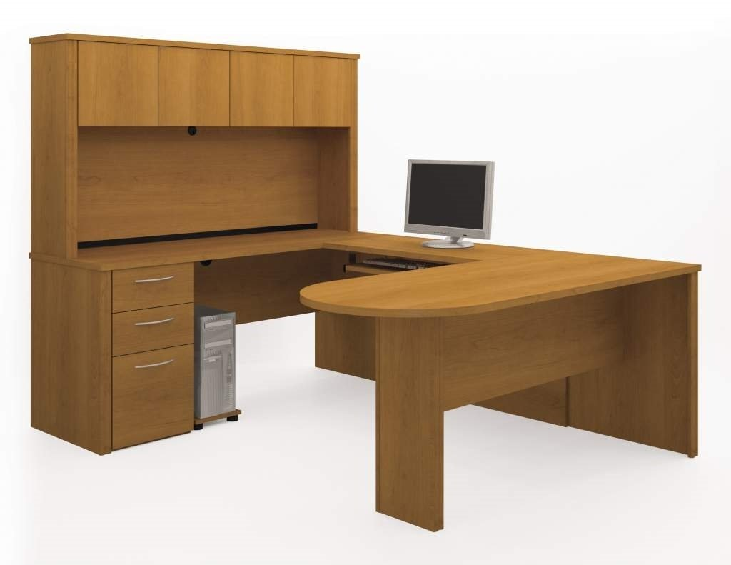 "Bestar U Shaped Desk W/Hutch 66"" X 85"" X 66"" Table 66""L X 27""W X 30.4""H Credenza 66""L X 19.6""W X 30.4""H Hutch 66""L X 12.9""W X 36.4""H Bridge 38.5""L X 19.8""W X 30.4""H - Cappuchino Cherry"