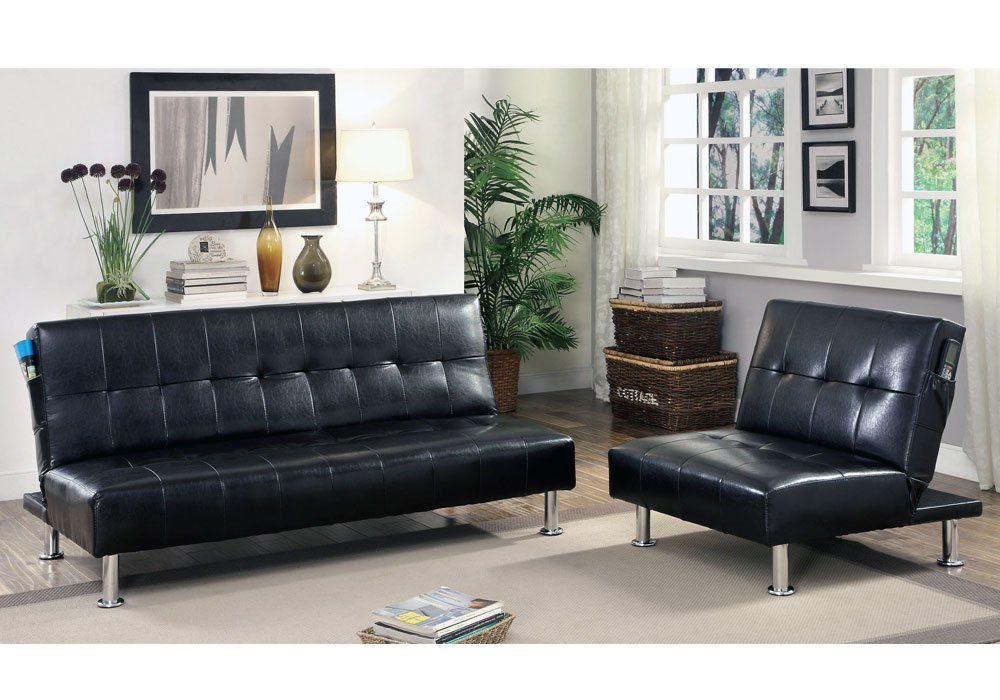 Get Quotations 1perfectchoice Bulle 2pc Adjule Sofa Bed Futon Chair Sleeper Black Leatherette Side Pockets