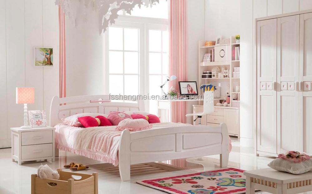 High Quality Solid Wood Bed Desk Wardrobe Girls Room Furniture