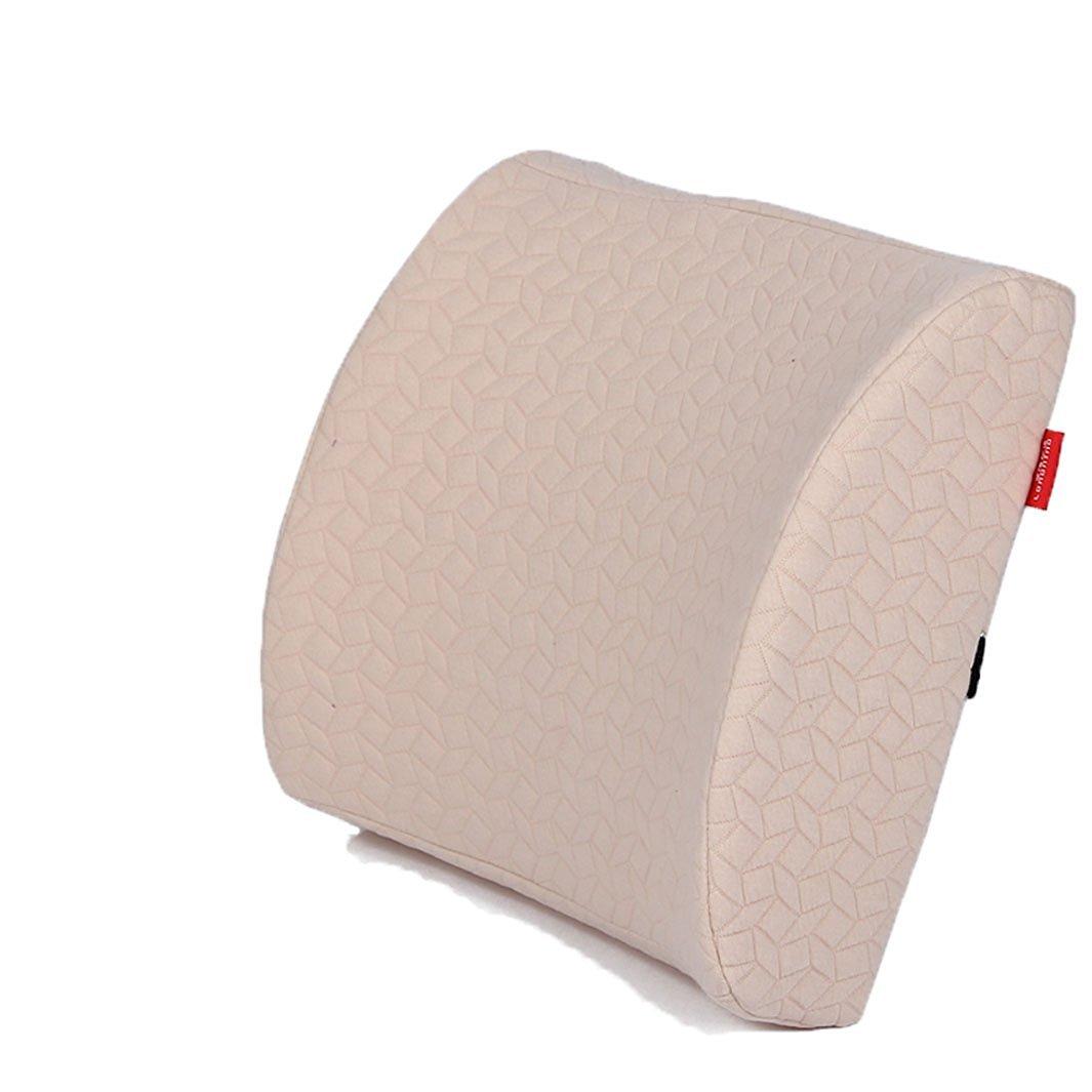 Kiss&tell Advanced Knitted Cotton Cover. High Quality Zero-pressure Foam Technology Massage Lumbar Pillow (light yellow)
