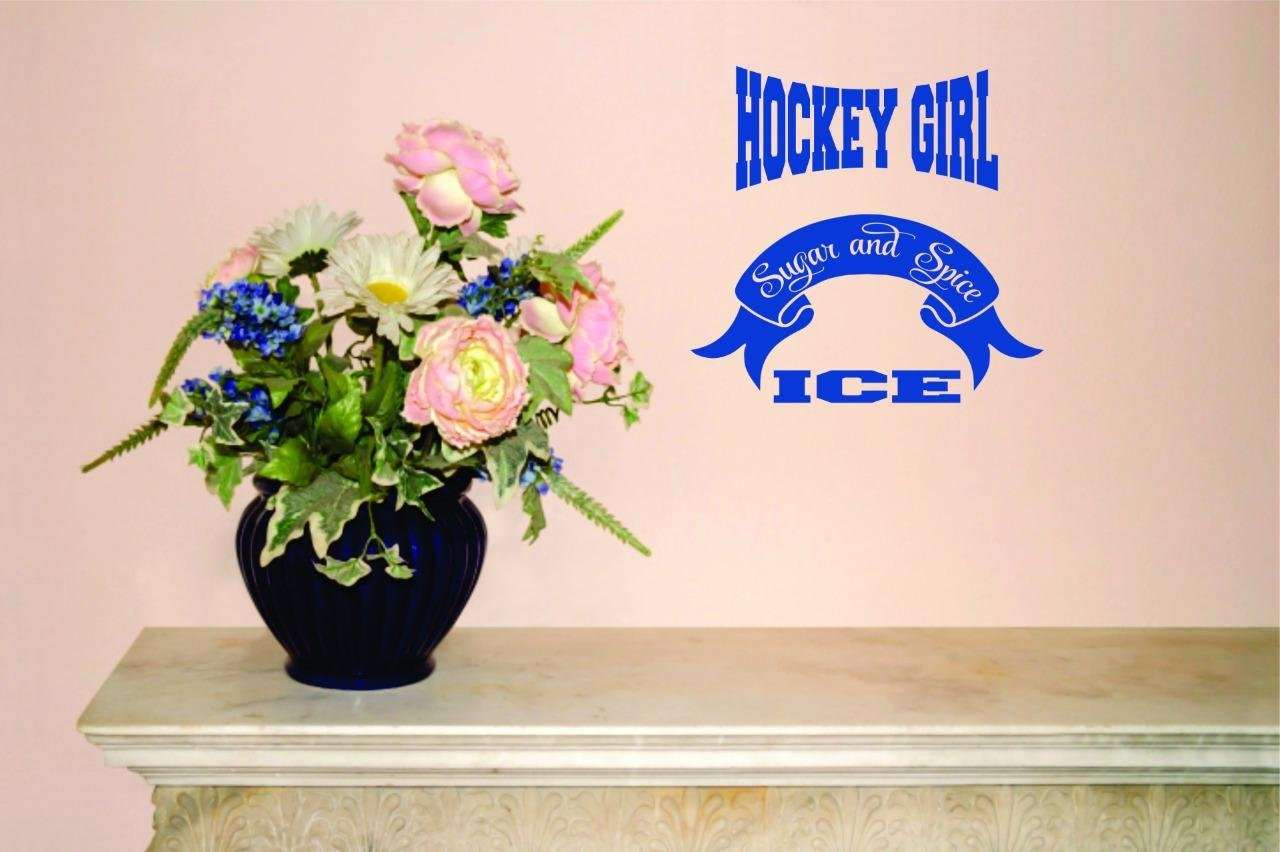 """Design with Vinyl Moti 2207 4 Decal - Peel & Stick Wall Sticker : Hockey Girl Sugar and Spice Ice Text Lettering Sports Quote Color: As Seen Size 40""""es x 60""""es"""