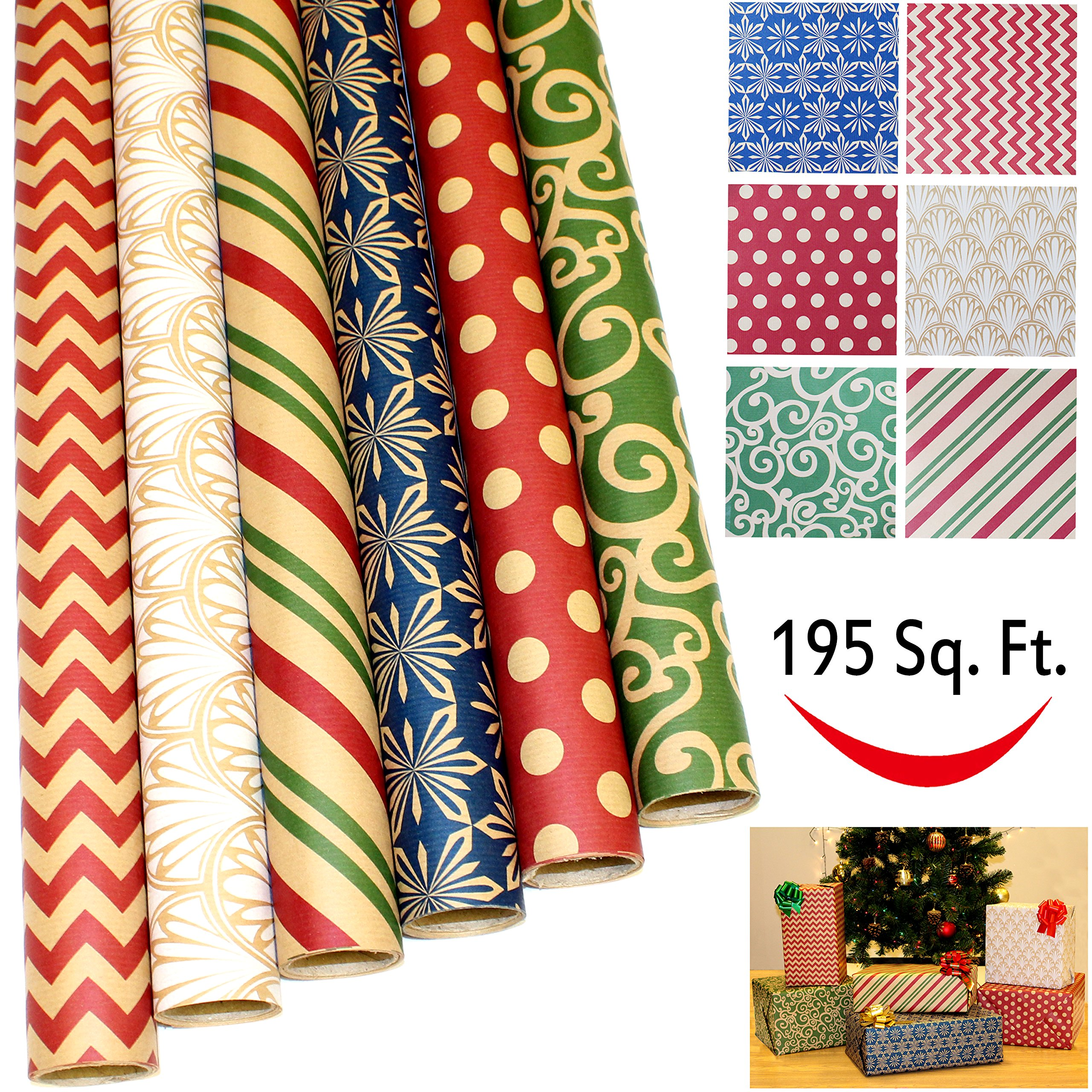 """6 Rolls Kraft Holiday Gift Wrapping Paper (30"""" X 156"""") for Holiday Gift Wrap, Christmas Gift Wrapping Decoration, Birthday Gift, Wedding and Party Favors by Joiedomi"""